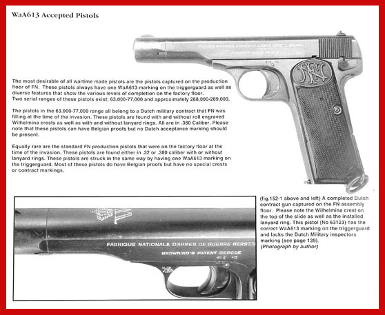 Belgian Browning Pistols book, Fabrique Nationale, FN, Browning, herstal, 1899, 1900, 1903, 1905, 1906, 1910, 1922, hi power, high power, pistol, gun, saive, john browning, german, wartime, code, WaA613, WaA140, WaA103